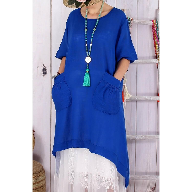 Robe longue ete bleu roi