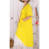 Robe longue été asymétrique bohème jaune DENISE