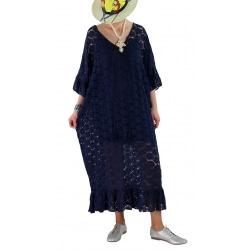 Robe longue été dentelle bohème bleu marine OCEAN