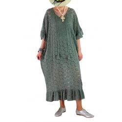Robe longue été dentelle bohème kaki OCEAN