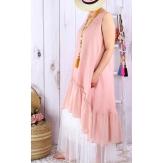 Robe longue femme grande taille été lin POUPETTE Rose-Robe femme-CHARLESELIE94