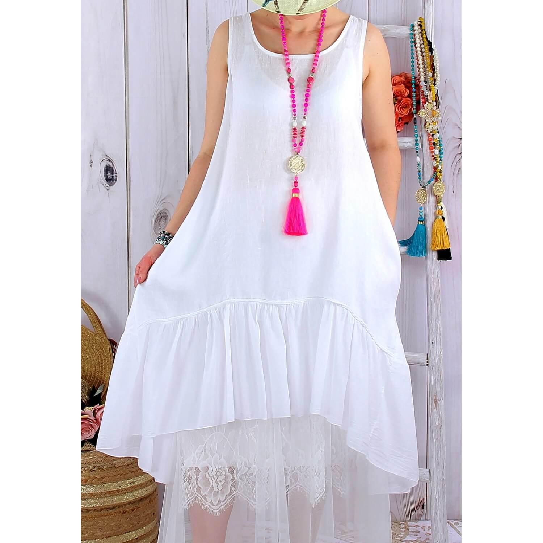 Lin Bohème Longue Blanc Robe Poupette Été hCsdxBtQr