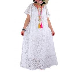 Robe longue grande taille dentelle bohème été blanche GABIN