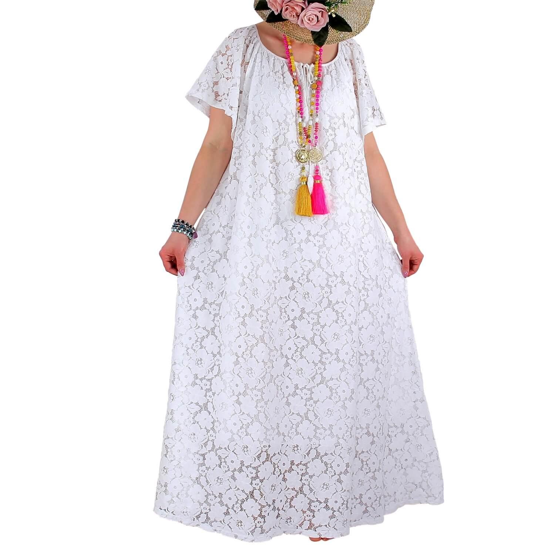 Blanche Grande Robe Dentelle Bohème Été Longue Gabin Taille H29EID