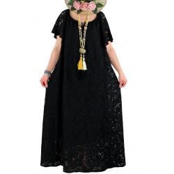 Robe longue grande taille dentelle bohème été noir GABIN