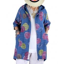 Veste coton lin capuche été bohème bleu jean DORIS