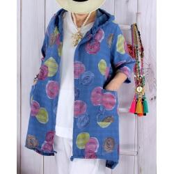 Veste coton lin capuche été bohème bleu jean DORIS-Veste femme-CHARLESELIE94