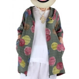 Veste coton lin capuche été bohème kaki DORIS-Veste femme-CHARLESELIE94