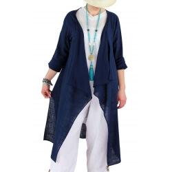 Manteau long coton lin été bohème marine CALIFORNIE