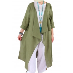 Manteau long coton lin été bohème kaki CALIFORNIE