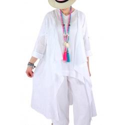 Manteau long coton lin été bohème blanc CALIFORNIE