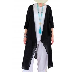 Manteau long coton lin été bohème noir CALIFORNIE