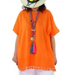 Tunique grande taille dentelle broderies été orange AMADEUS