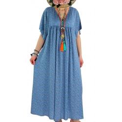 Robe longue grande taille liberty été bleu mer FESTIVAL