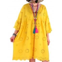 Robe tunique grande taille broderie été COUNTRY jaune