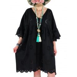 Robe tunique grande taille broderie été COUNTRY noire