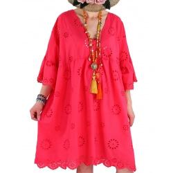 Robe tunique grande taille broderie été COUNTRY fushia