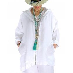Veste grande taille lin capuche été MYRIAM blanche