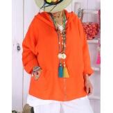 Veste grande taille lin capuche été MYRIAM orange