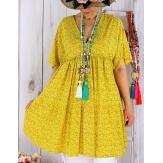 Tunique longue grande taille liberty GALATEA jaune-Tunique été femme-CHARLESELIE94