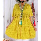 Tunique longue grande taille liberty GALATEA jaune Tunique été femme
