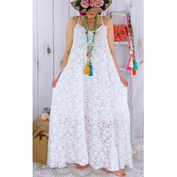 Robe longue grande taille dentelle romantique été BOSSA blanche Robe longue grande taille
