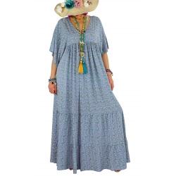 Robe longue grande taille liberty été bohème bleu MIAMI