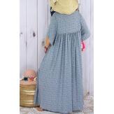 Robe longue grande taille liberty été bleu gris MIAMI-Robe longue grande taille-CHARLESELIE94