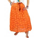 Jupe grande taille longue dentelle bohème orange MELODIE
