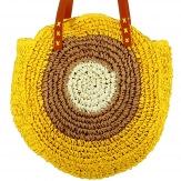 Grand sac cabas été plage rond paille tressée fait main jaune S103