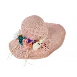 Capeline chapeau paille souple fleurs été ISOLA rose