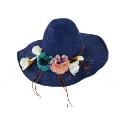 Capeline chapeau paille souple fleurs été ISOLA bleu