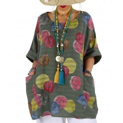 Tunique poncho été grande taille coton lin kaki SUZY