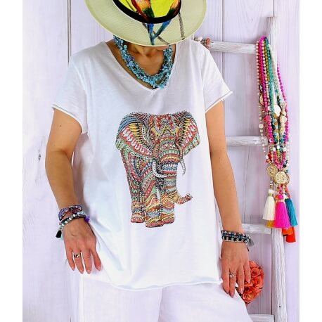 Tee shirt femme grande taille été blanc bohème EXOTIQUE-Tee shirt tunique femme grande taille-CHARLESELIE94