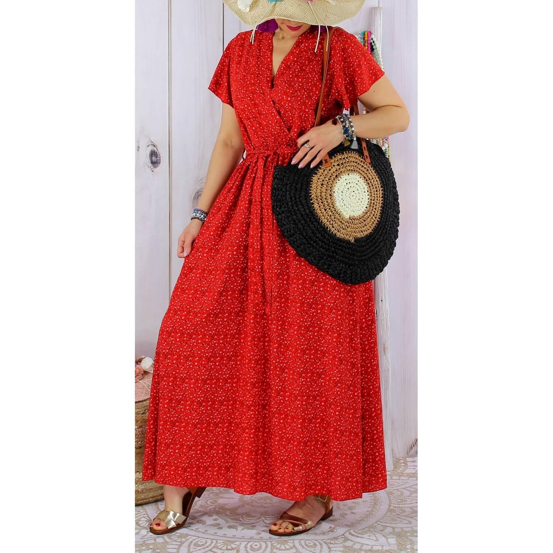 Design moderne regard détaillé grande variété de styles Robe longue été liberty bohème rouge SARDAIGNE