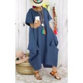 Robe longue lin grande taille été originale bleu jean CARSAC