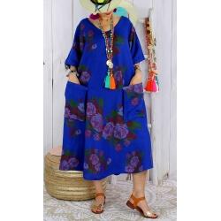 Robe longue femme grande taille lin LUCILE Bleu royal-Robe longue femme-CHARLESELIE94