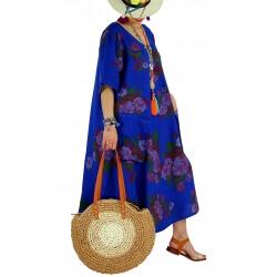 Robe longue grande taille lin été bohème LUCILE bleu royal