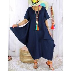 Robe longue lin grande taille été originale CARSAC bleu marine Robe longue femme
