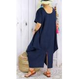 Robe longue lin grande taille été originale CARSAC bleu marine