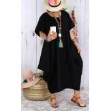 Robe longue lin grande taille été originale CARSAC noire-Robe longue femme-CHARLESELIE94