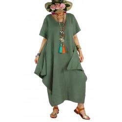 Robe longue lin grande taille été originale CARSAC kaki