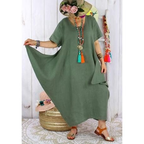 Robe longue lin grande taille été originale CARSAC kaki Robe longue femme