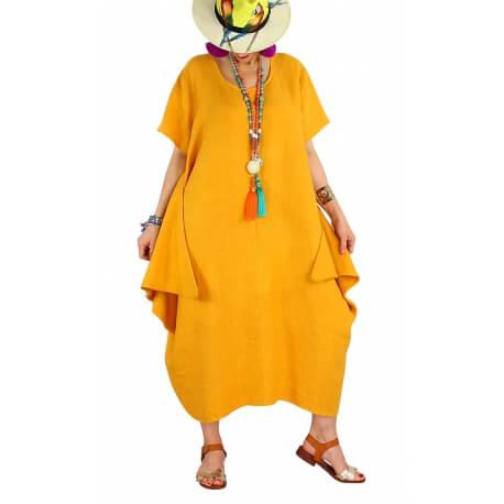 Robe longue lin grande taille été originale CARSAC jaune