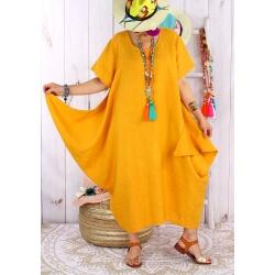 Robe longue lin grande taille été originale CARSAC jaune Robe longue femme