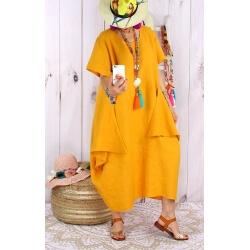 Robe longue lin grande taille été originale CARSAC jaune-Robe longue femme-CHARLESELIE94