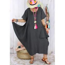 Robe longue lin grande taille été originale CARSAC gris Robe longue femme