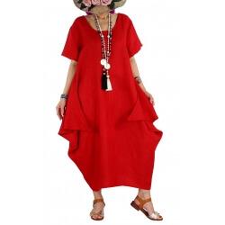 Robe longue lin grande taille été originale CARSAC rouge