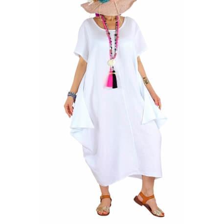Robe longue lin grande taille été originale CARSAC blanche