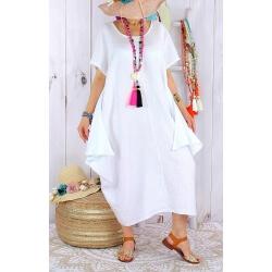 Robe longue lin grande taille été originale CARSAC blanche-Robe longue femme-CHARLESELIE94